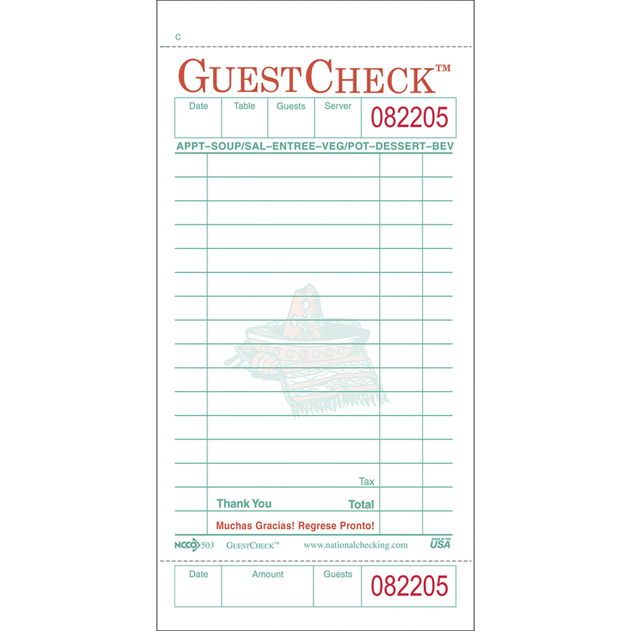 Guest Check 1 Part Board White 15 line