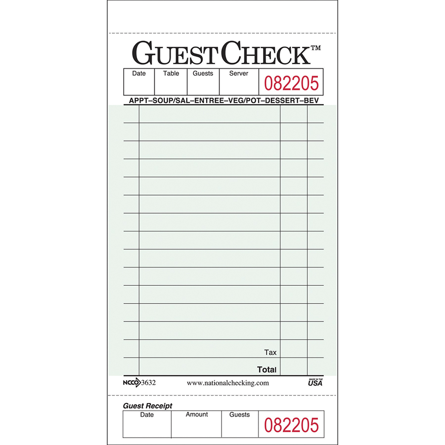 Guest Check 1 Part Board Green 16 Line