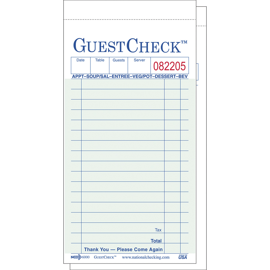GuestCheck 2 Part Carbon Green 16 Line