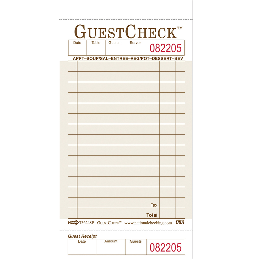 GuestCheck 1 Part Tan 15 Line